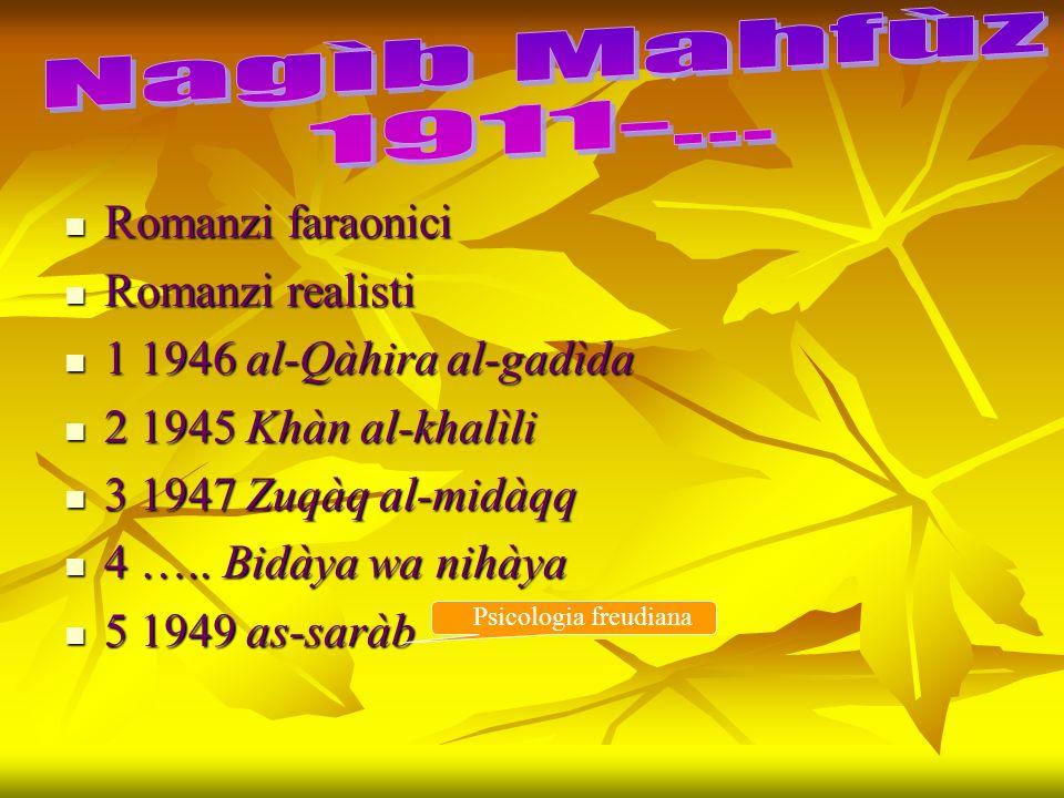 Nagìb Mahfùz 1911-... Romanzi faraonici Romanzi realisti