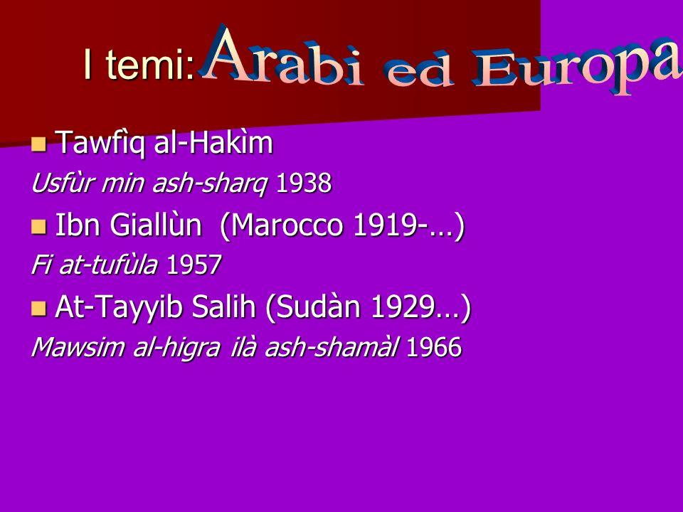 I temi: Arabi ed Europa Tawfìq al-Hakìm Ibn Giallùn (Marocco 1919-…)