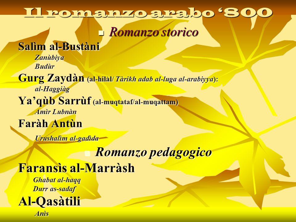 Il romanzo arabo '800 Romanzo storico Romanzo pedagogico