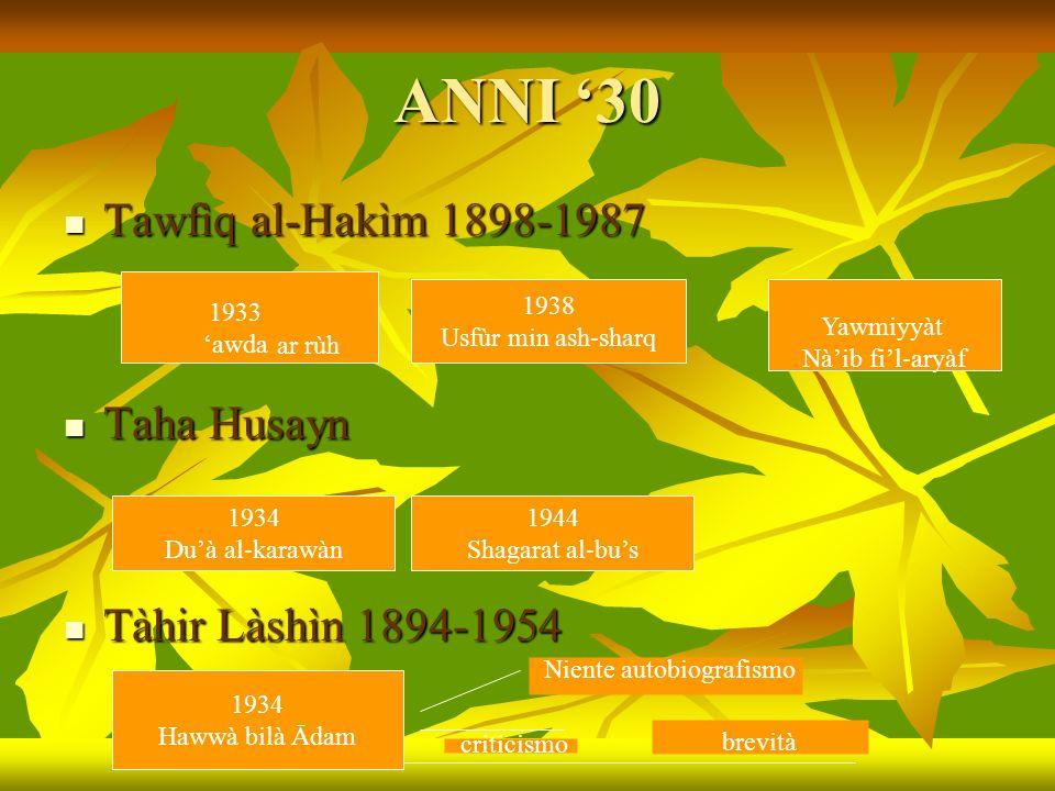 ANNI '30 Tawfìq al-Hakìm 1898-1987 Taha Husayn Tàhir Làshìn 1894-1954