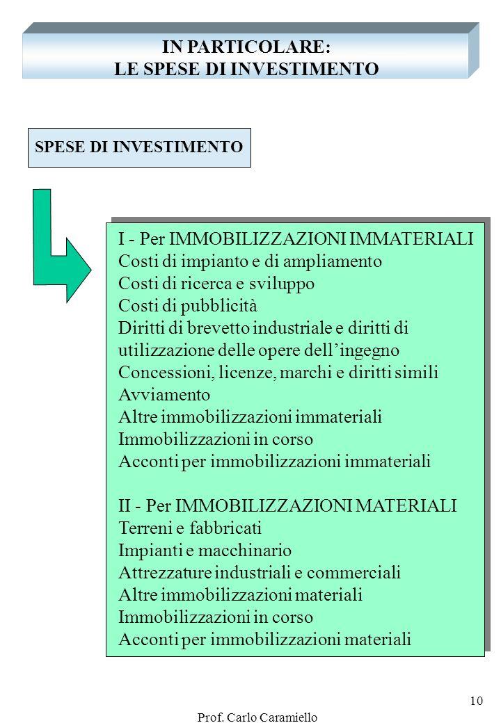 IN PARTICOLARE: LE SPESE DI INVESTIMENTO