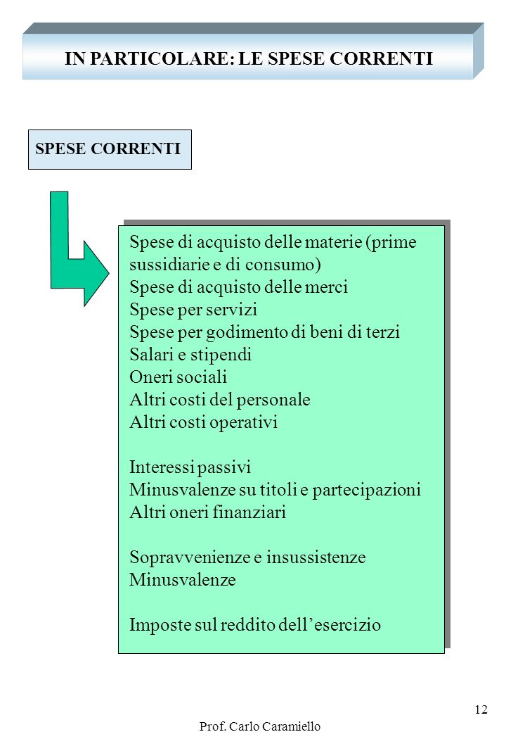 IN PARTICOLARE: LE SPESE CORRENTI