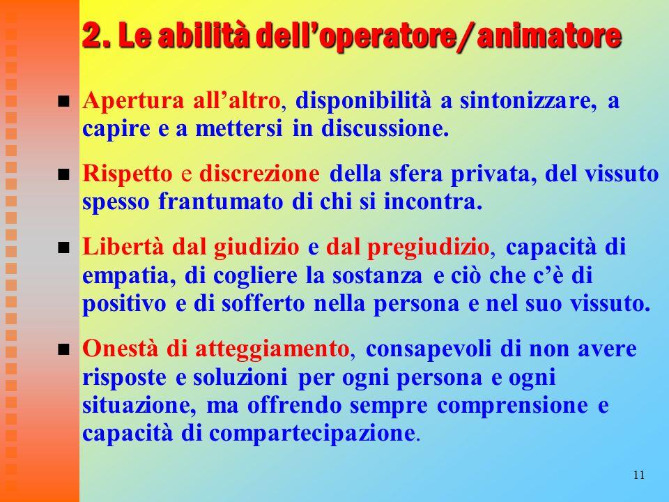 2. Le abilità dell'operatore/animatore