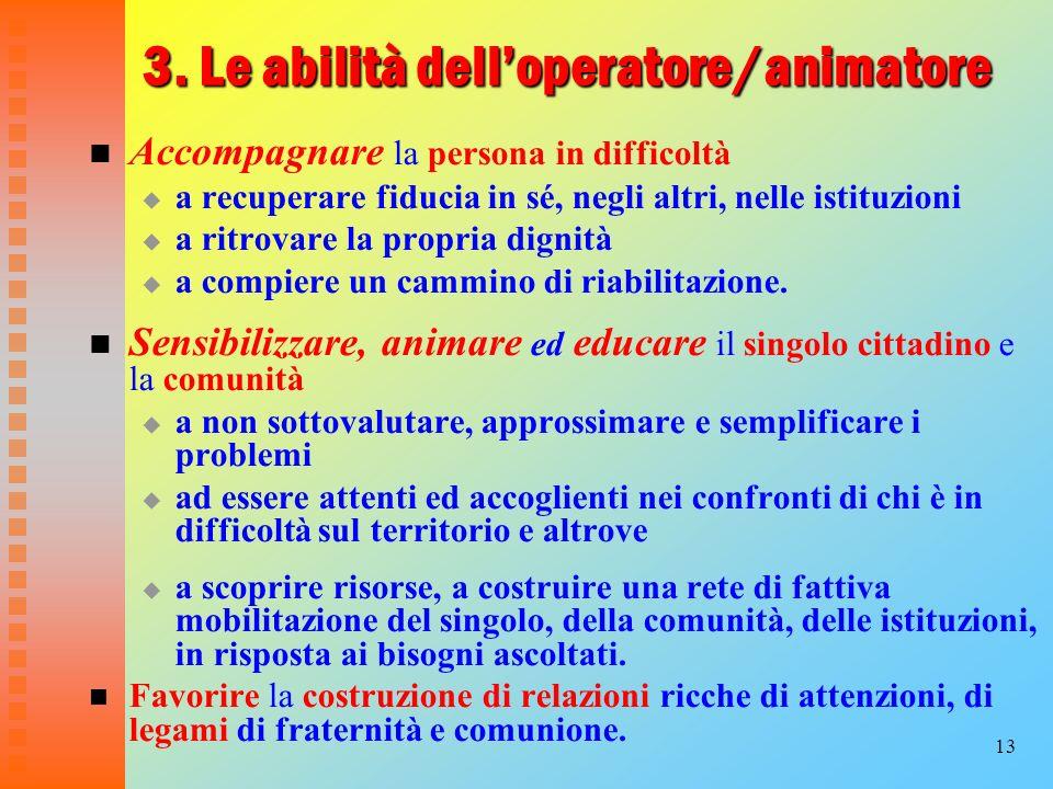 3. Le abilità dell'operatore/animatore