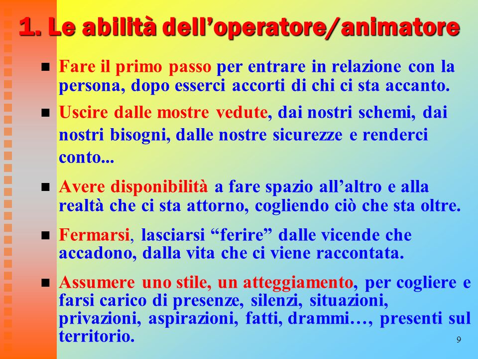 1. Le abilità dell'operatore/animatore