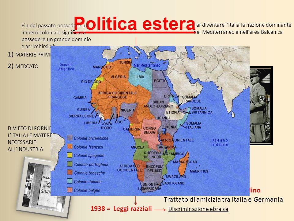 Politica estera 1) MATERIE PRIME 2) MERCATO 1936 SANZIONI ECONOMICHE