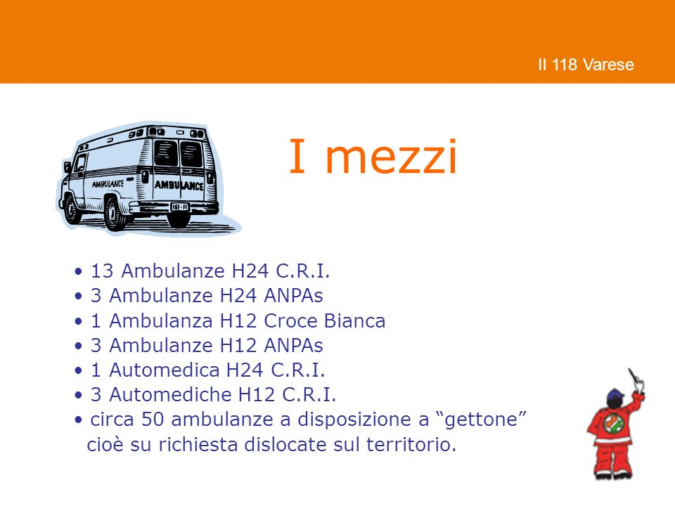 I mezzi 13 Ambulanze H24 C.R.I. 3 Ambulanze H24 ANPAs