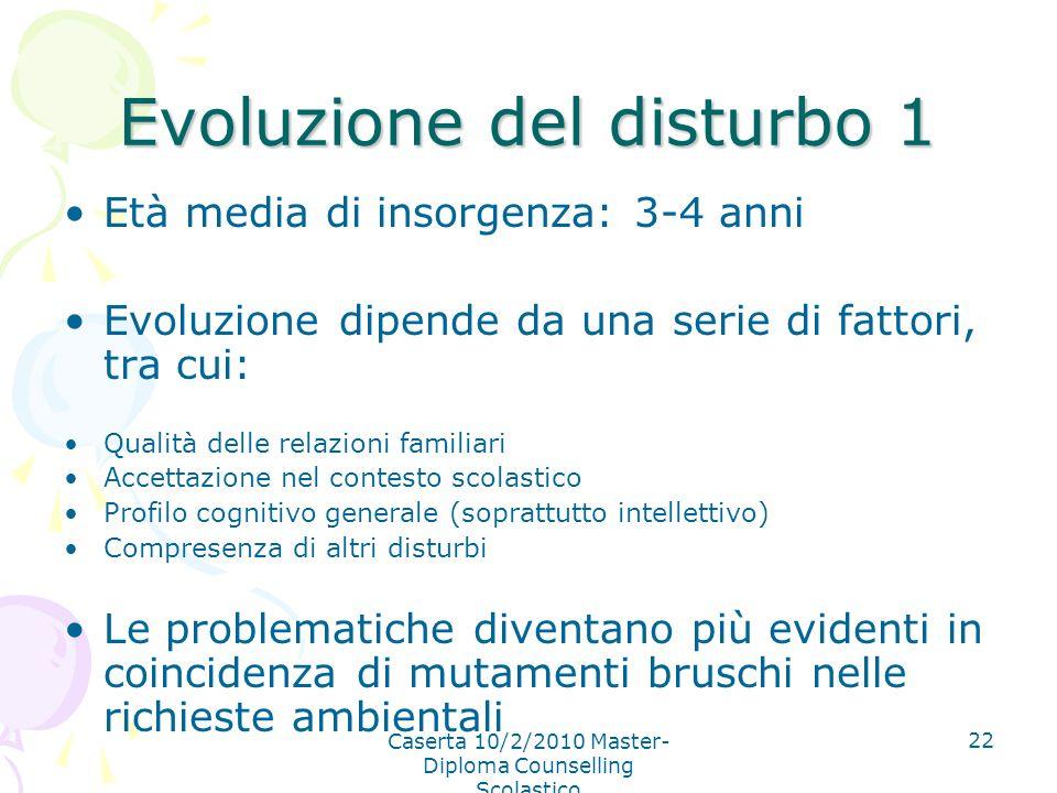 Evoluzione del disturbo 1