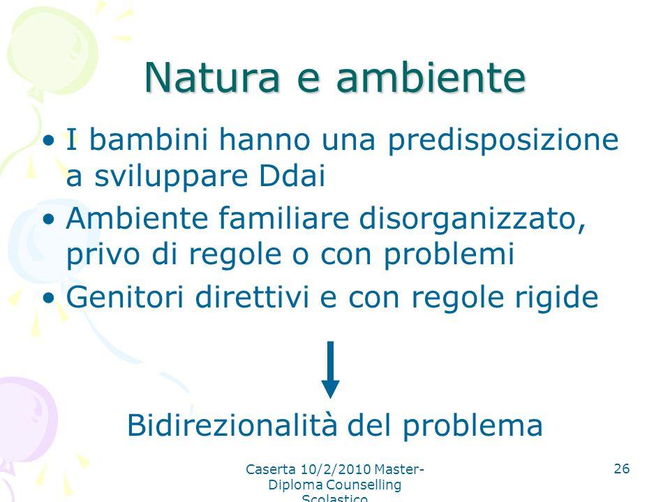 Natura e ambiente I bambini hanno una predisposizione a sviluppare Ddai. Ambiente familiare disorganizzato, privo di regole o con problemi.