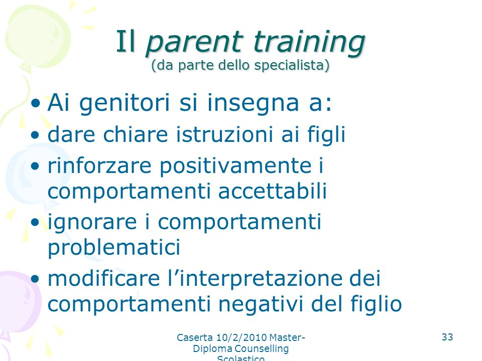 Il parent training (da parte dello specialista)