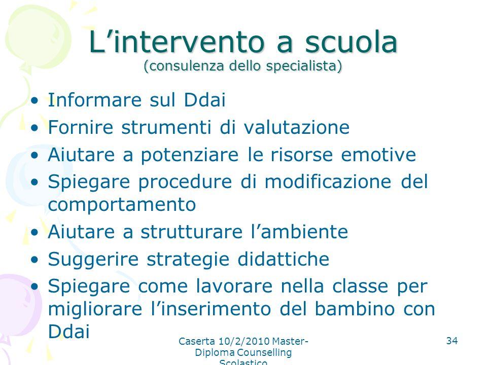 L'intervento a scuola (consulenza dello specialista)