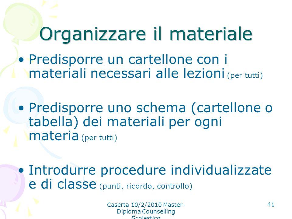 Organizzare il materiale