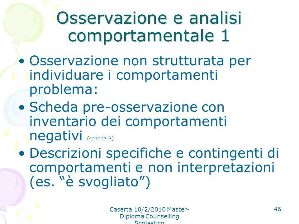 Osservazione e analisi comportamentale 1