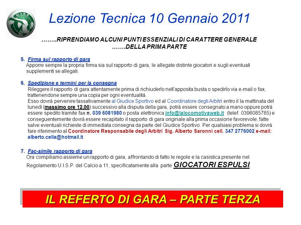Lezione Tecnica 10 Gennaio 2011