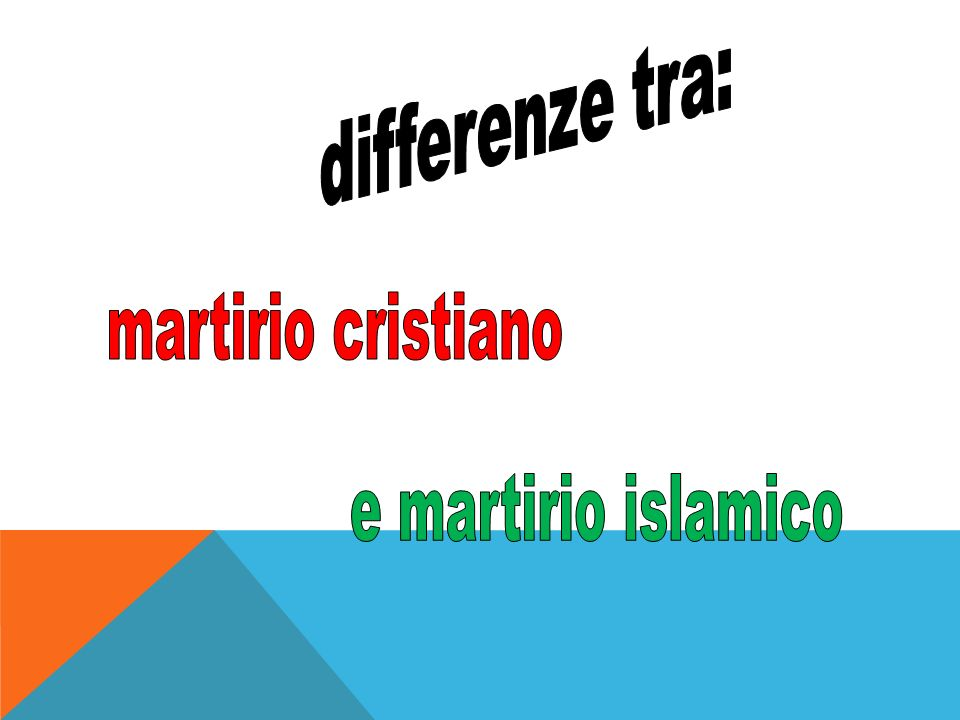 differenze tra: martirio cristiano e martirio islamico