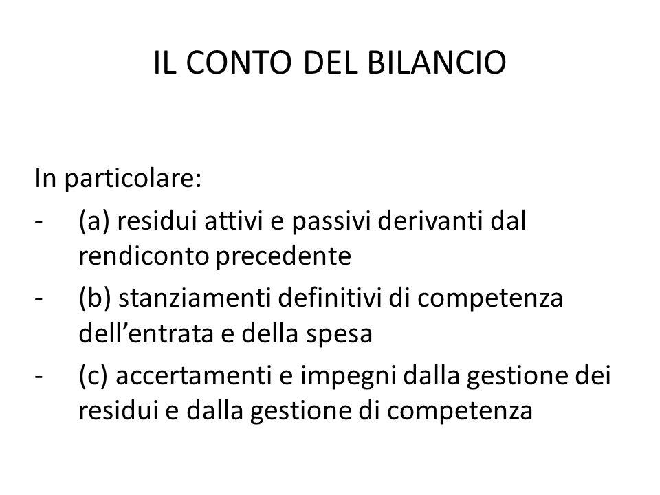 IL CONTO DEL BILANCIO In particolare: