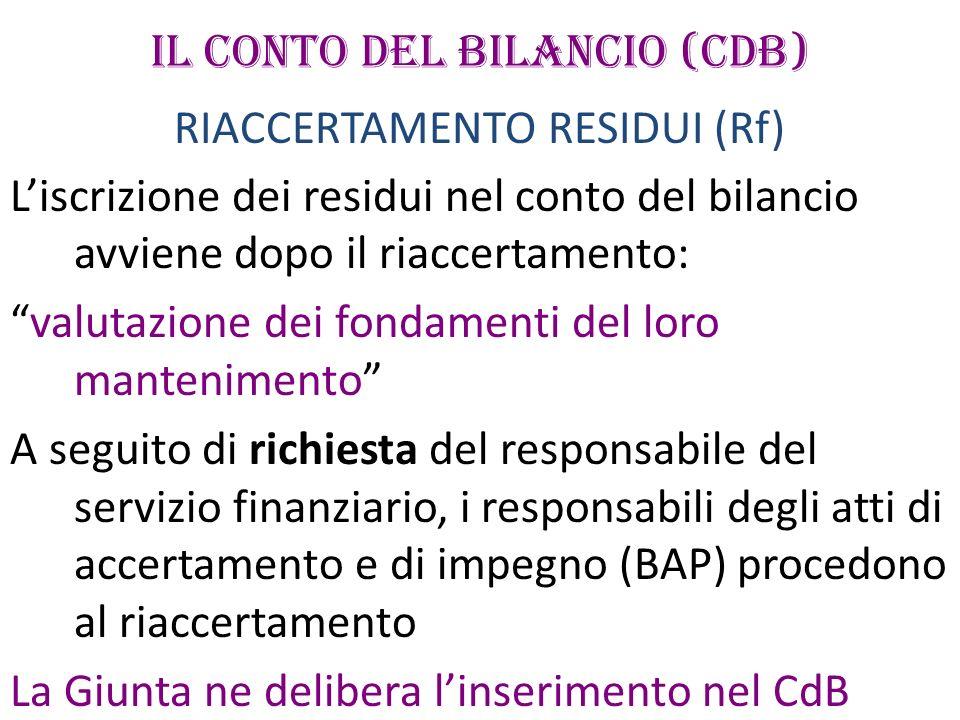 IL CONTO DEL BILANCIO (CdB)