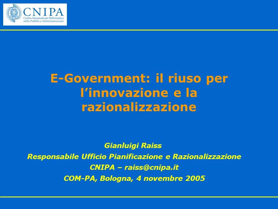 E-Government: il riuso per l'innovazione e la razionalizzazione