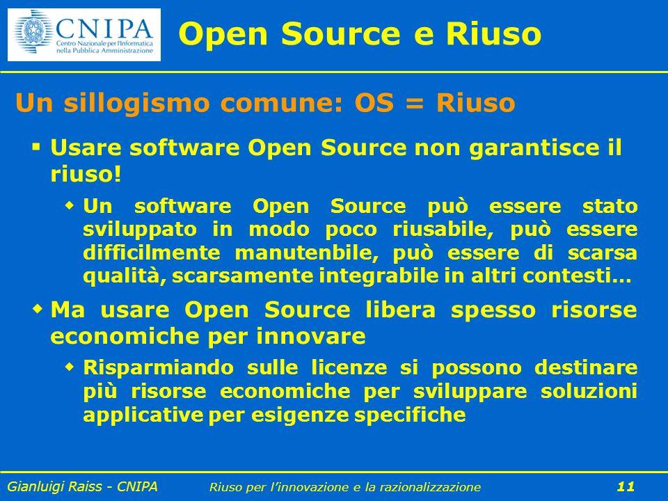 Open Source e Riuso Un sillogismo comune: OS = Riuso