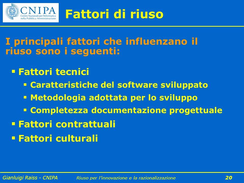 Fattori di riuso I principali fattori che influenzano il riuso sono i seguenti: Fattori tecnici. Caratteristiche del software sviluppato.