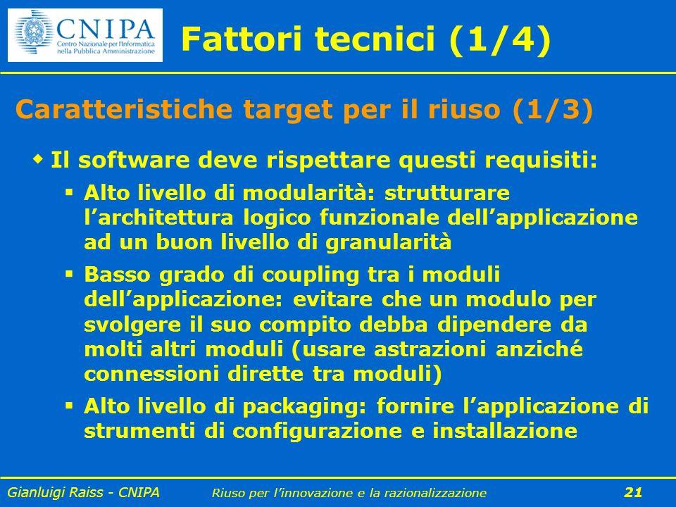 Fattori tecnici (1/4) Caratteristiche target per il riuso (1/3)