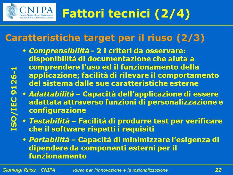 Fattori tecnici (2/4) Caratteristiche target per il riuso (2/3)