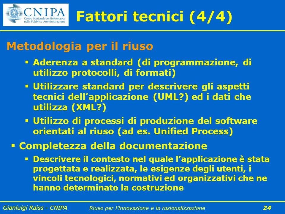 Fattori tecnici (4/4) Metodologia per il riuso