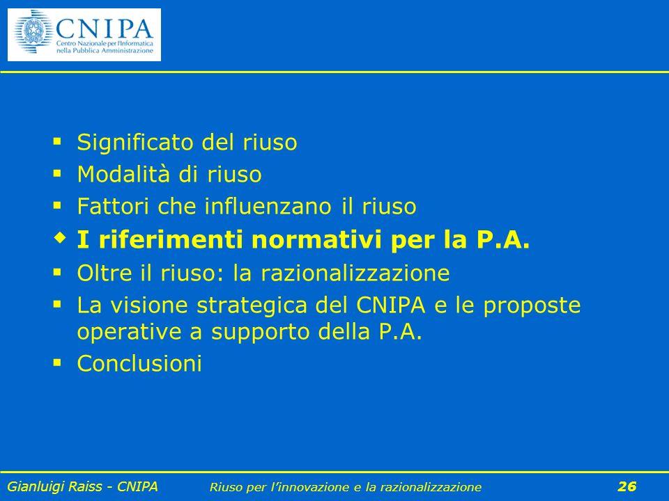 I riferimenti normativi per la P.A.