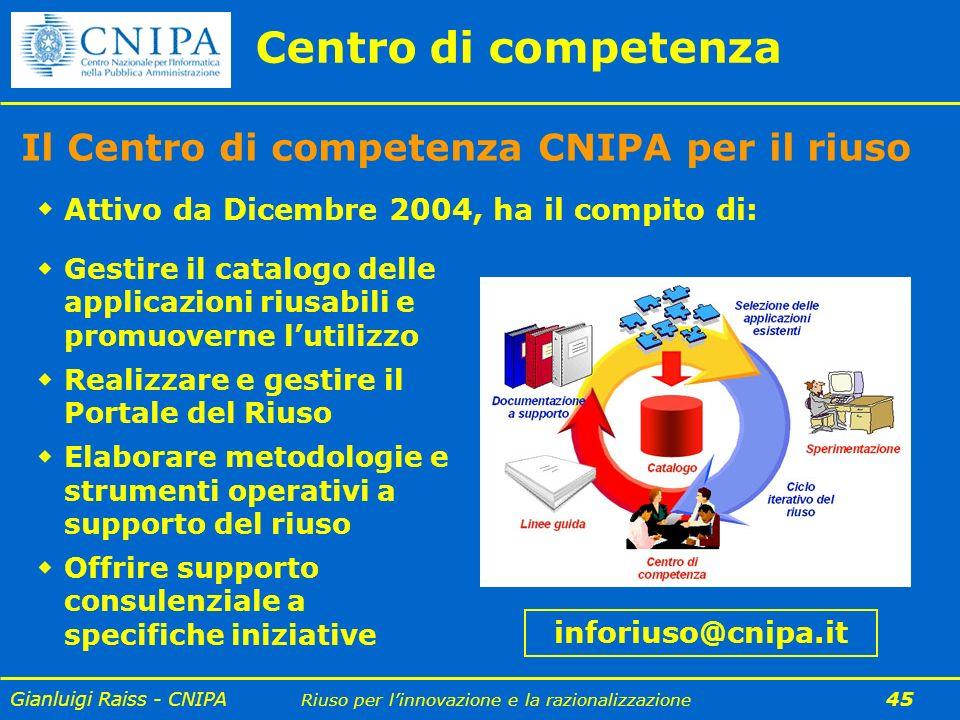 Centro di competenza Il Centro di competenza CNIPA per il riuso