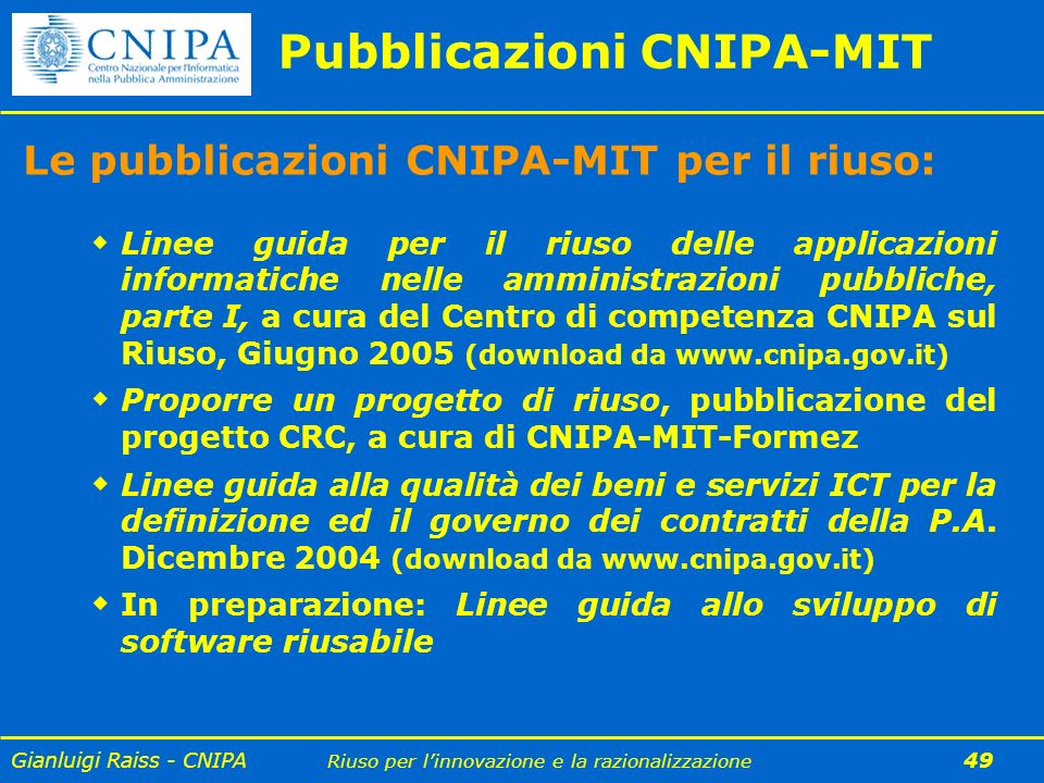 Pubblicazioni CNIPA-MIT