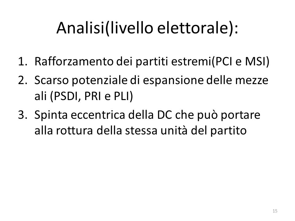 Analisi(livello elettorale):