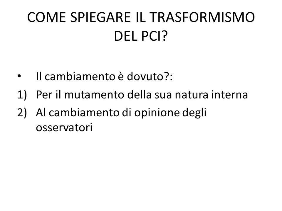 COME SPIEGARE IL TRASFORMISMO DEL PCI