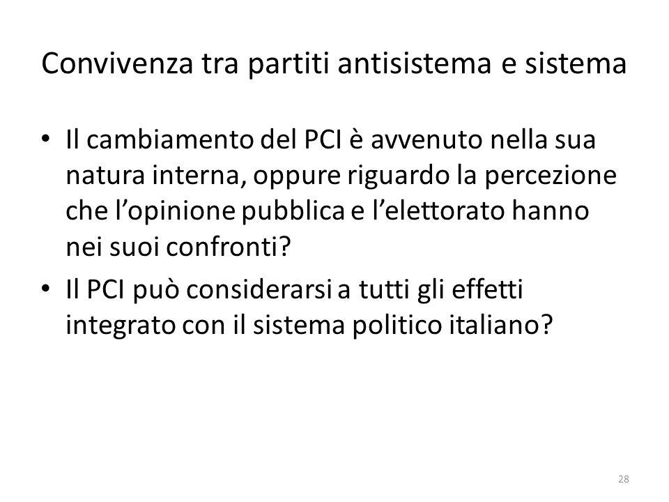 Convivenza tra partiti antisistema e sistema