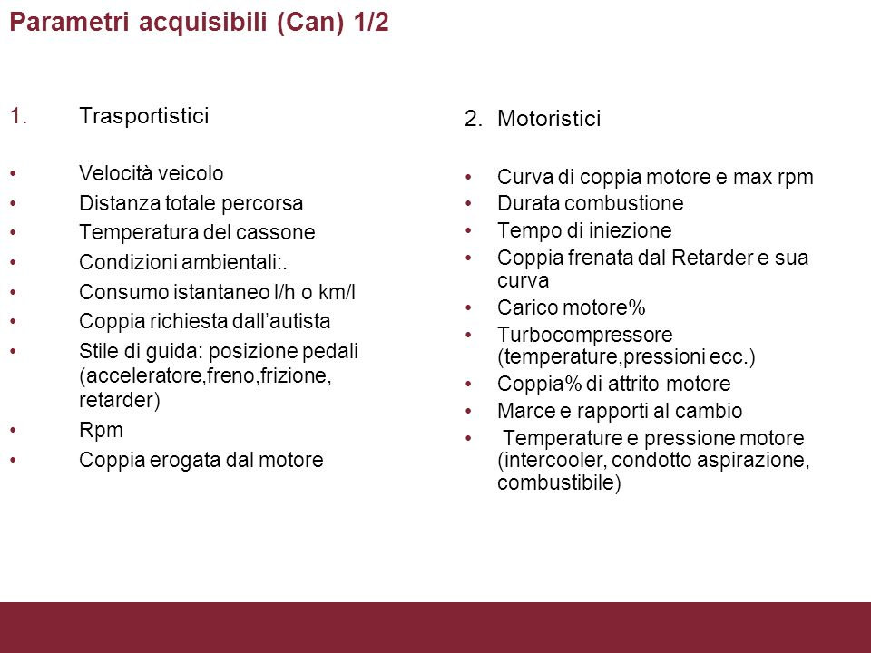 Parametri acquisibili (Can) 1/2