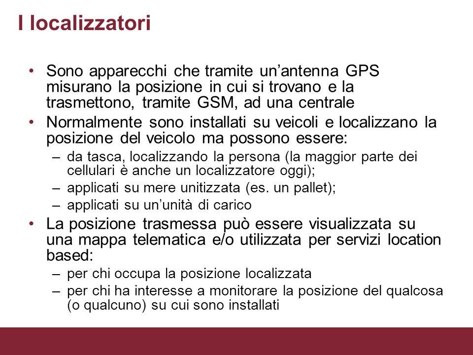 I localizzatoriSono apparecchi che tramite un'antenna GPS misurano la posizione in cui si trovano e la trasmettono, tramite GSM, ad una centrale.