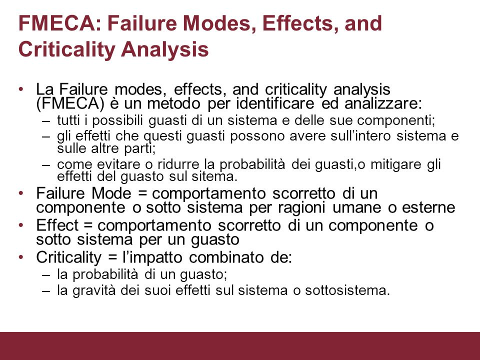 FMECA: Failure Modes, Effects, and Criticality Analysis