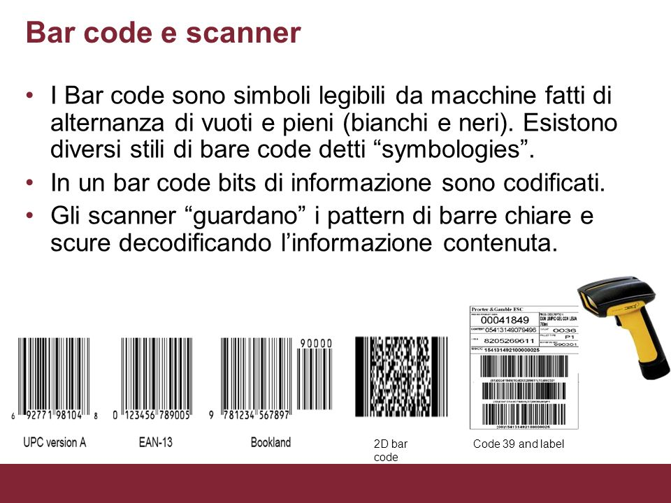 Bar code e scanner
