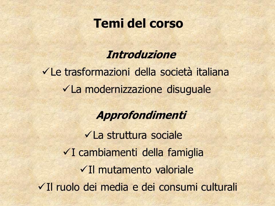 Temi del corso Introduzione Le trasformazioni della società italiana