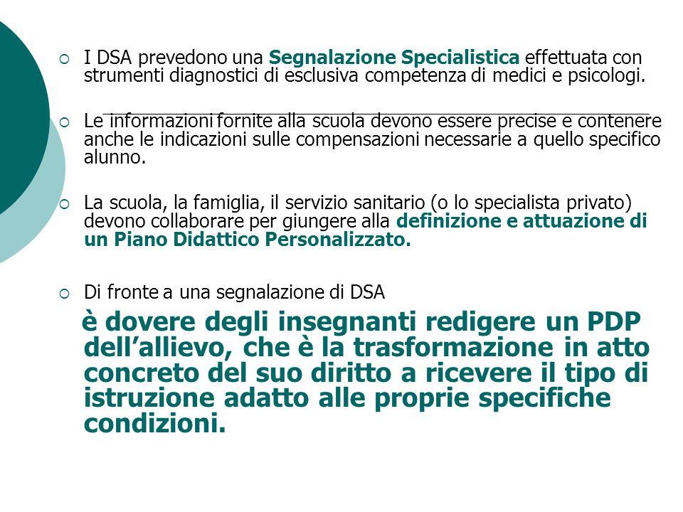 I DSA prevedono una Segnalazione Specialistica effettuata con strumenti diagnostici di esclusiva competenza di medici e psicologi.