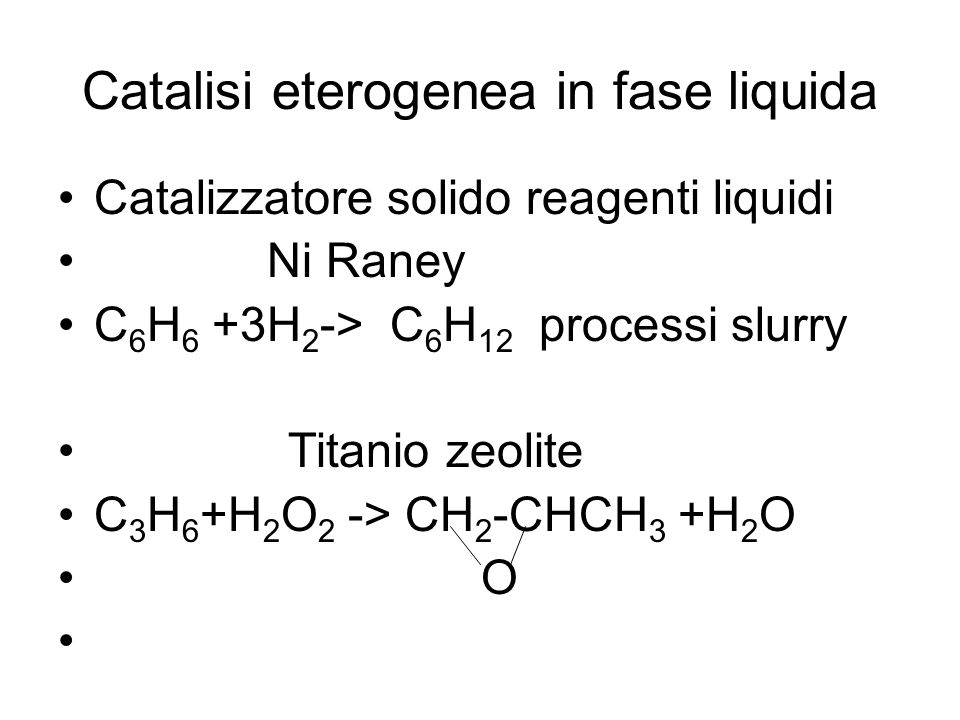 Catalisi eterogenea in fase liquida