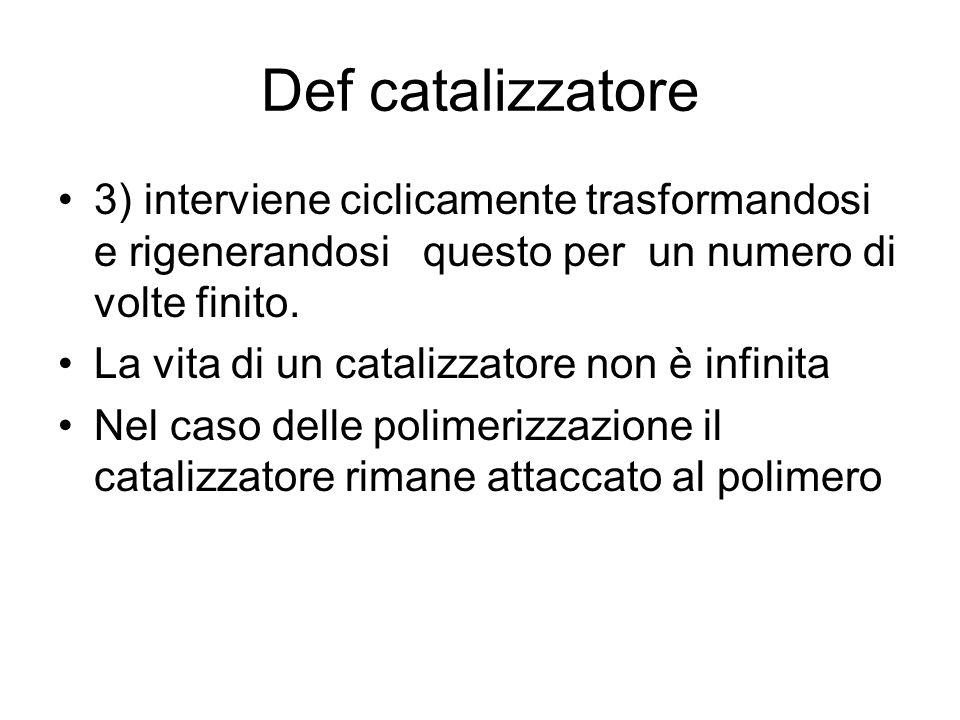 Def catalizzatore 3) interviene ciclicamente trasformandosi e rigenerandosi questo per un numero di volte finito.
