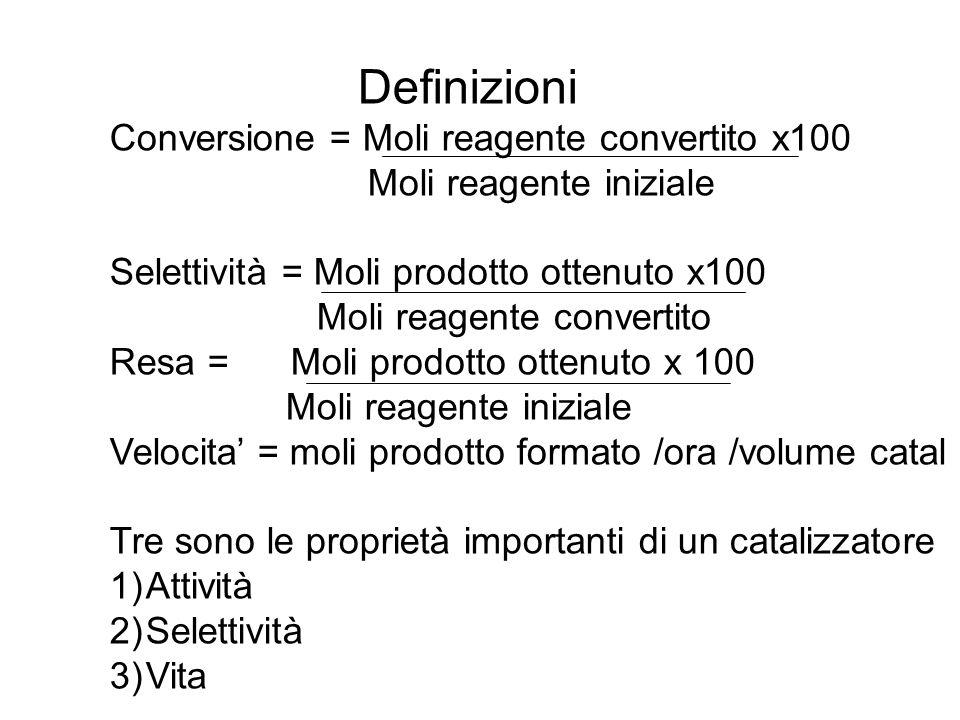 Definizioni Conversione = Moli reagente convertito x100. Moli reagente iniziale. Selettività = Moli prodotto ottenuto x100.