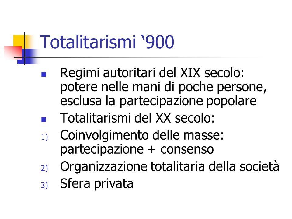 Totalitarismi '900 Regimi autoritari del XIX secolo: potere nelle mani di poche persone, esclusa la partecipazione popolare.