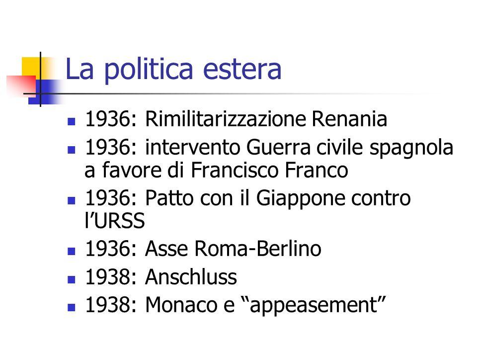 La politica estera 1936: Rimilitarizzazione Renania