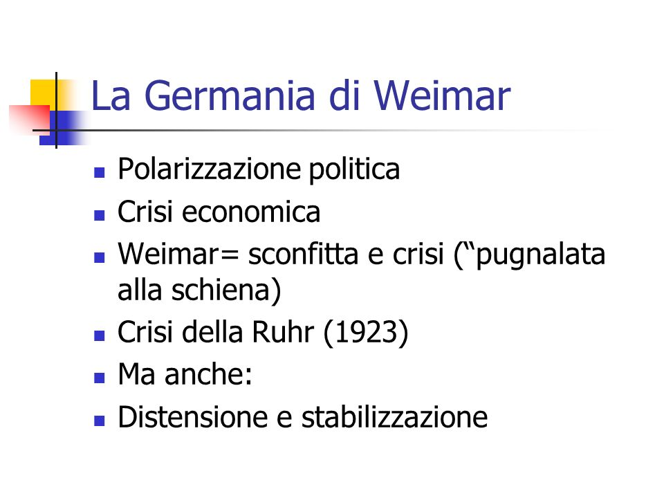 La Germania di Weimar Polarizzazione politica Crisi economica