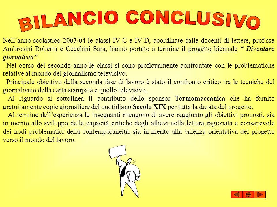 BILANCIO CONCLUSIVO