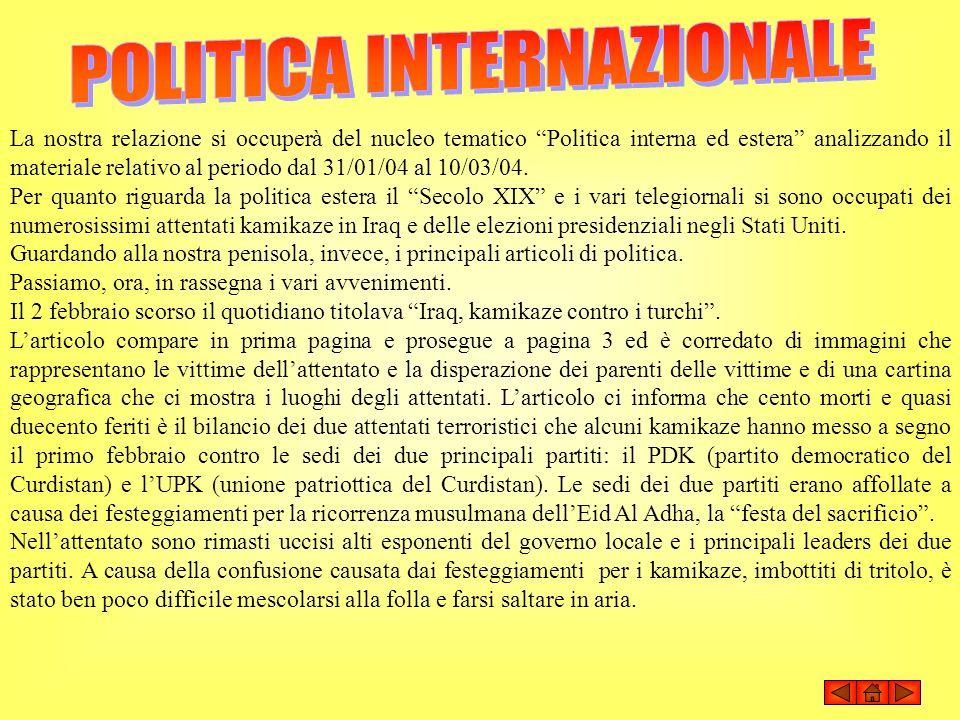 POLITICA INTERNAZIONALE