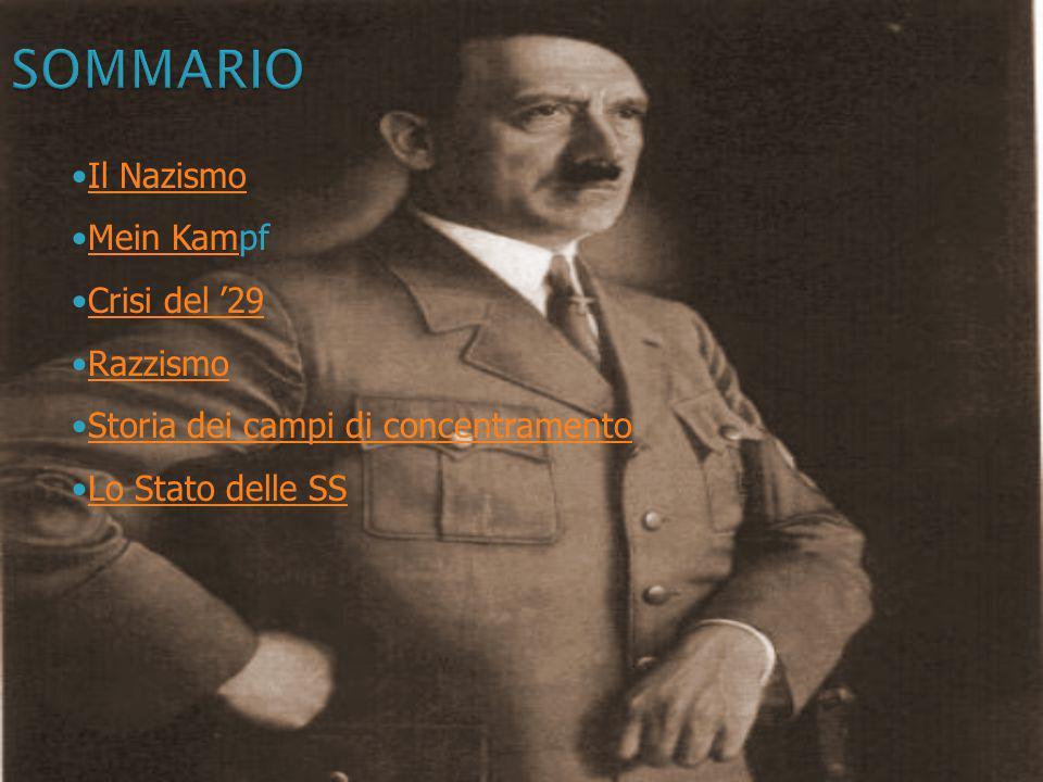 SOMMARIO Il Nazismo Mein Kampf Crisi del '29 Razzismo