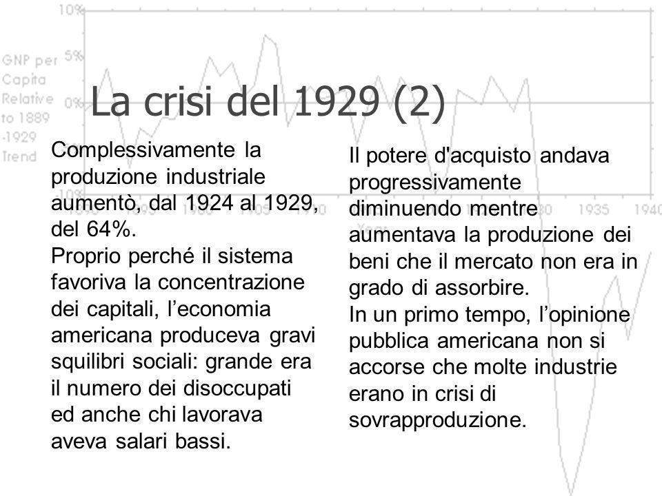 La crisi del 1929 (2) Complessivamente la produzione industriale aumentò, dal 1924 al 1929, del 64%.
