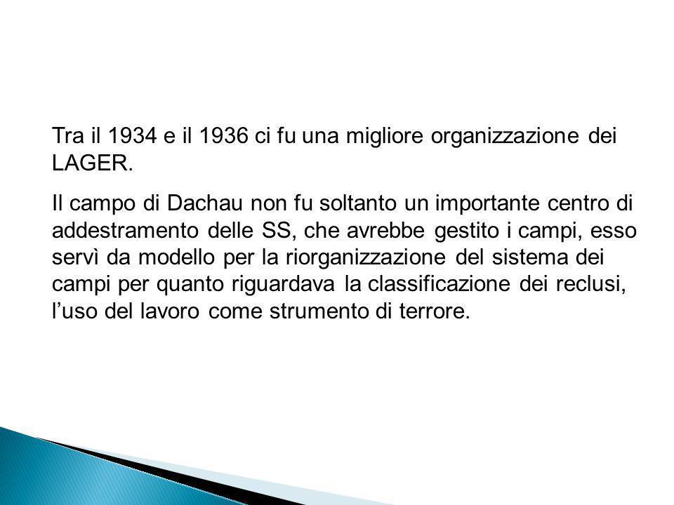 Tra il 1934 e il 1936 ci fu una migliore organizzazione dei LAGER.